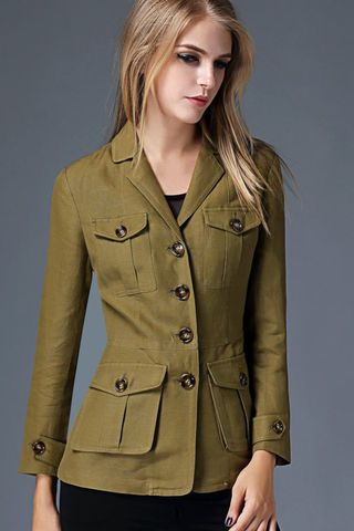 $165.99 Green Single Breasted Pleated Jacket