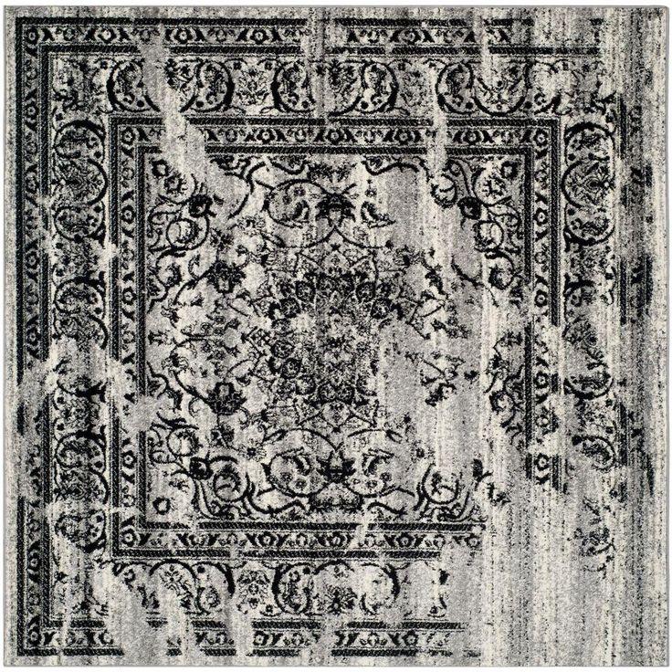 Adirondack Silver/Black 10 ft. x 10 ft. Square Area Rug