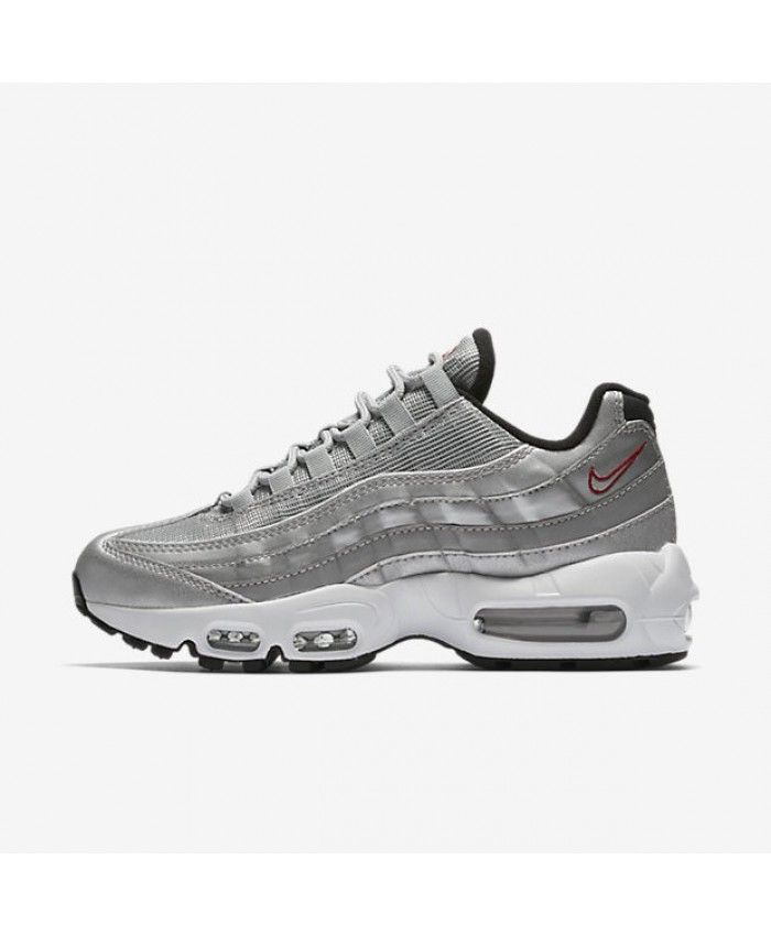 cheaper d0dbe a08e3 Nike Air Max 95 Qs Metallic Silver Black White Varsity Red Shoe
