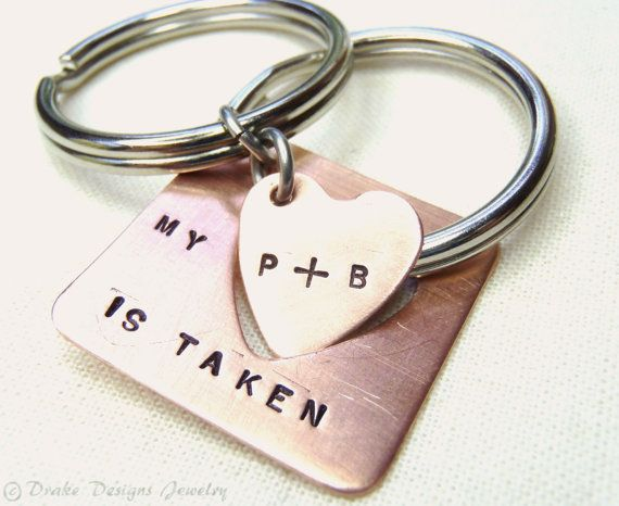 Personalized Keychain Set… Taken Heart Key Ring Set for Couples… Long Distan