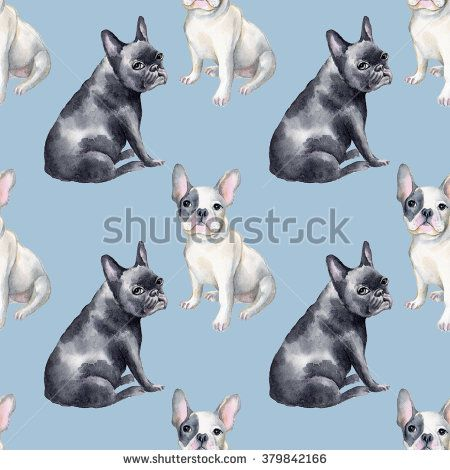 Watercolor seamless pattern of french bulldog. Pet, puppy background. Animal wallpaper. White, blue,pink, green, and yellow colors.