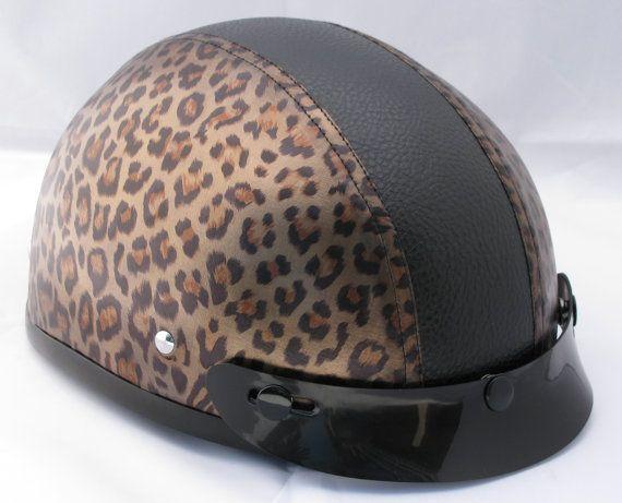 Women's Leopard DOT Half Motorcycle Helmet by SpadeInnovations