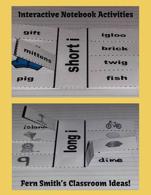 Fern's Freebie Friday ~ Vowel Sorting Short i & Long i Center Games and Interactive Notebook Activities #FREEBIE  #TPT #TeachersFollowTeachers