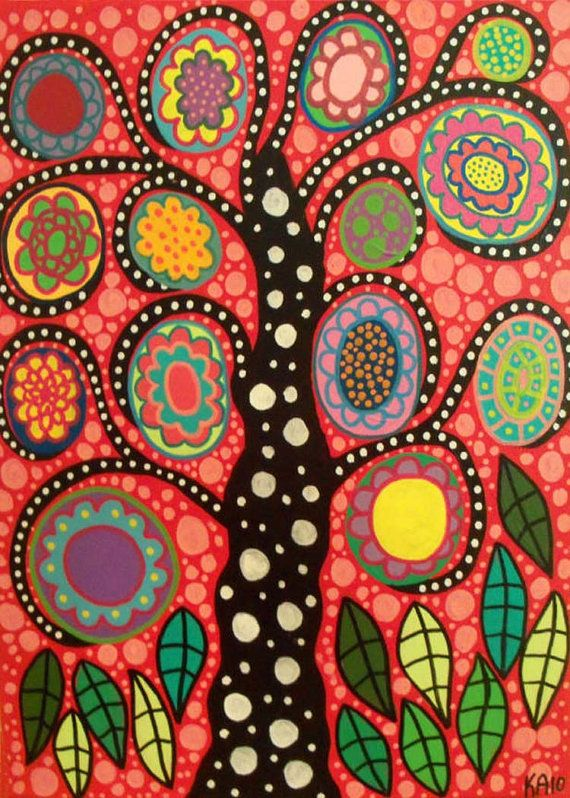 Kerri Ambrosino Art PRINT Mexican Folk Art  Hot Pepper Flower Tree of Life on Etsy, $20.00