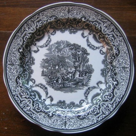 Decorative Dishes Black Toile Transferware Women Music