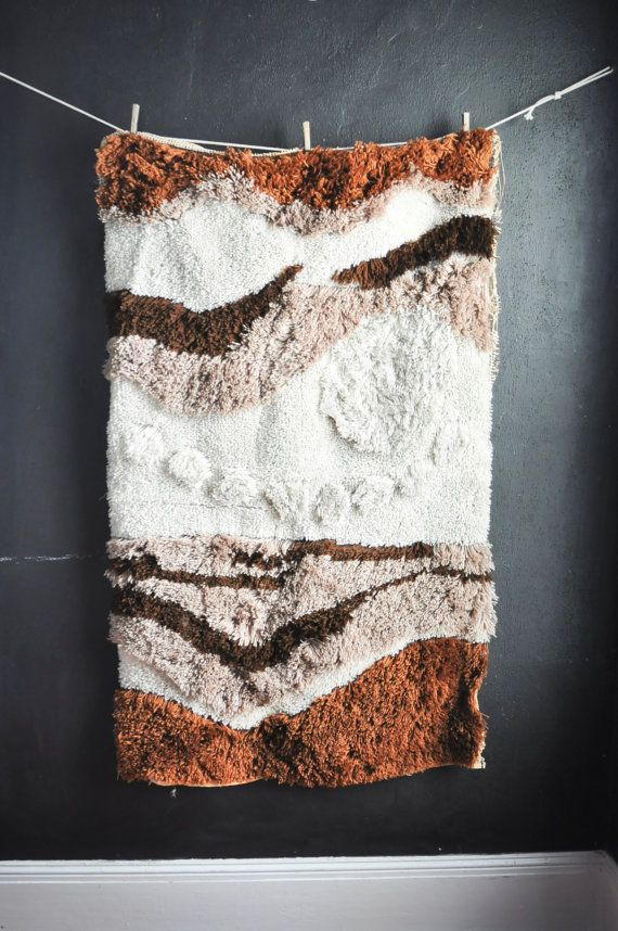 Vintage Huge Latch Hook Rug Wall Hanging Tapestry by drowsySwords