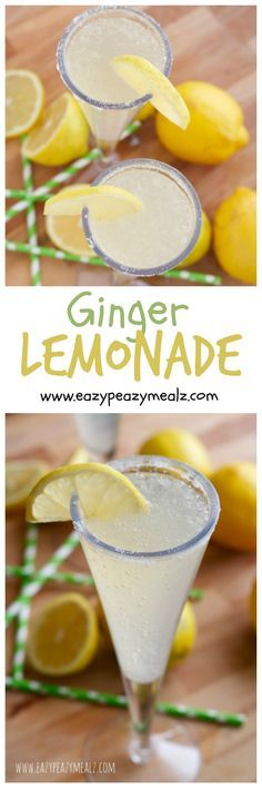 Ginger Lemonade: A sparkling ginger lemonade made with two easy ingredients. Perfect party punch, fun for kids and adults! - Eazy Peazy Mealz