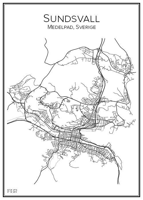 Sundsvall. Sverige. Karta. City print. Print. Affisch. Tavla. Tryck.