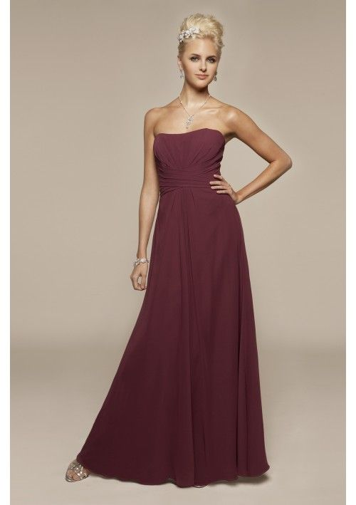 Simple design Chiffon Strapless A-Line bridesmaid dress