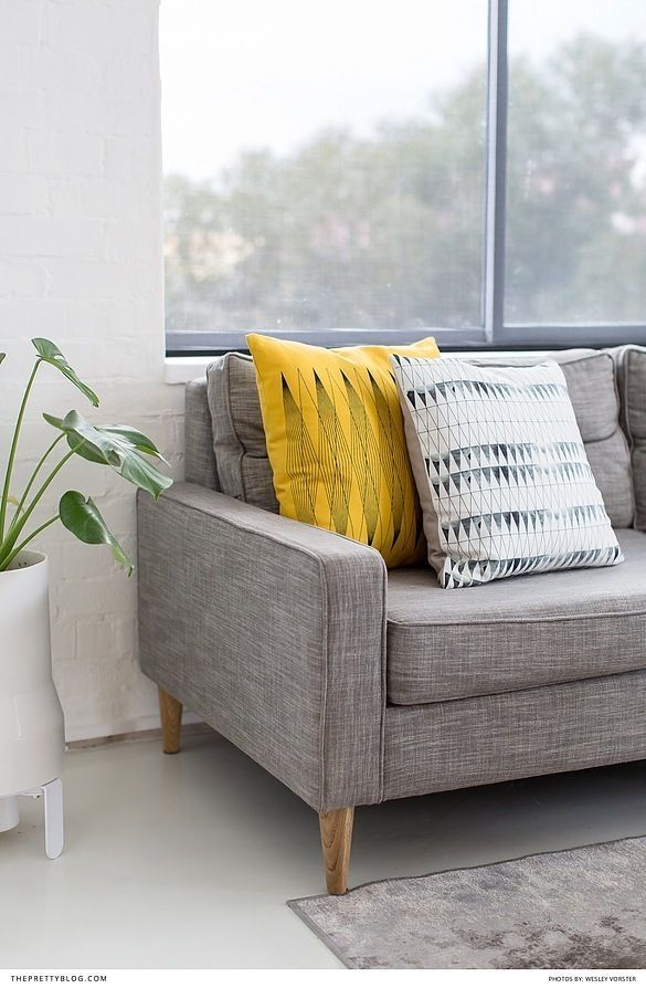 Grey Couch and Yellow Cushion Colour Combination   Photography by Wesley Vorster
