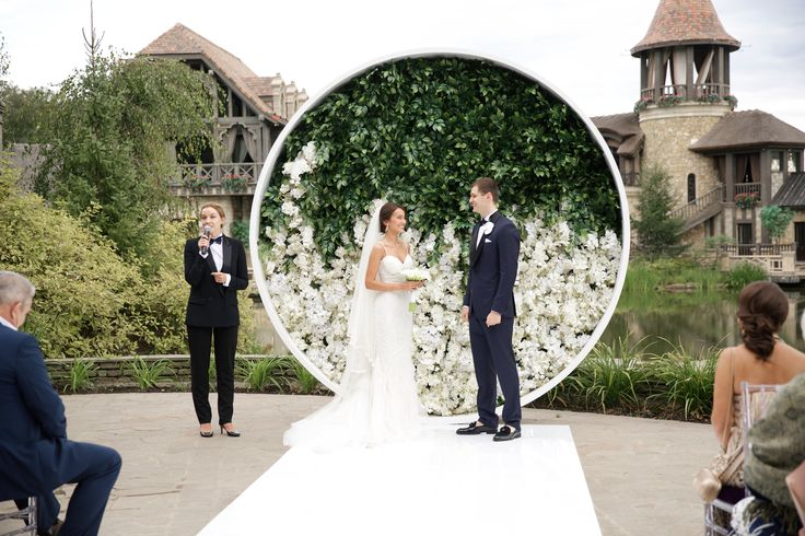 Circle wedding arch on wedding ceremony in Moscow, Russia