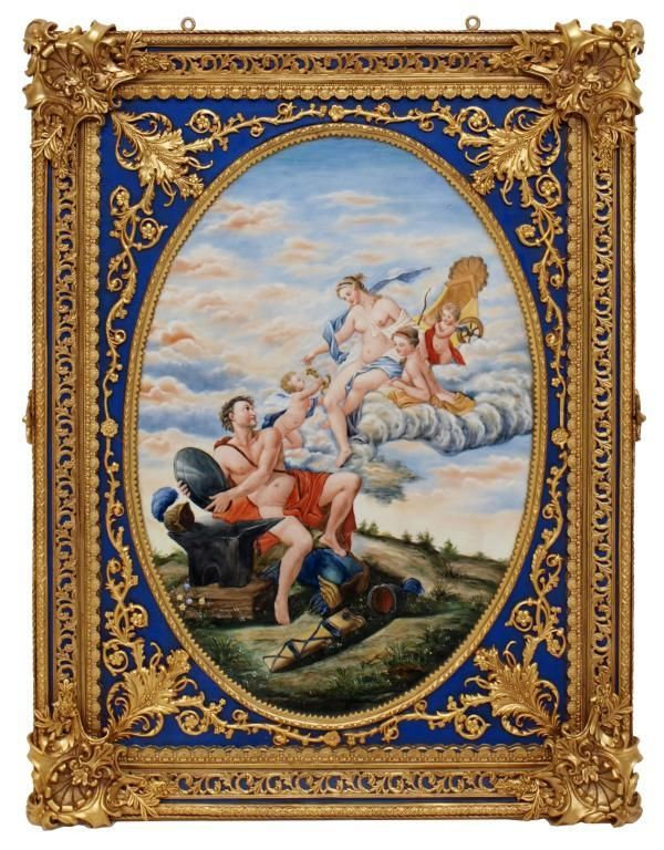 365: LARGE HAND PAINTED & GILT METAL PORCELAIN PLAQUE : Lot 365