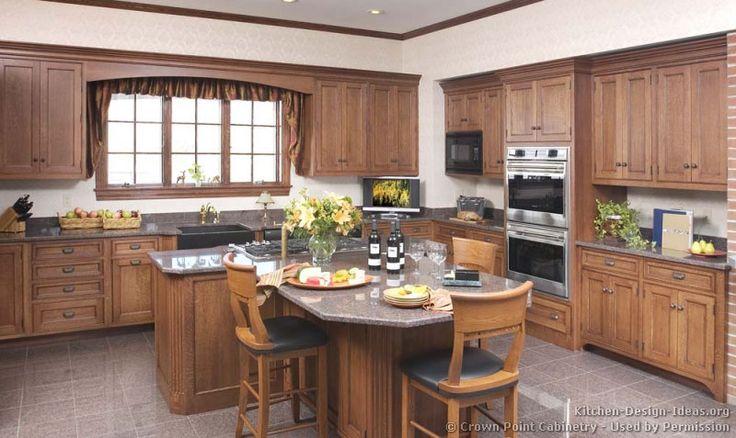 Traditional medium wood brown kitchen cabinets 54 crown for Kitchen ideas medium kitchens