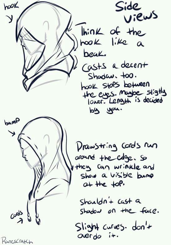 Tela. Una capucha de perfil y sus pliegues
