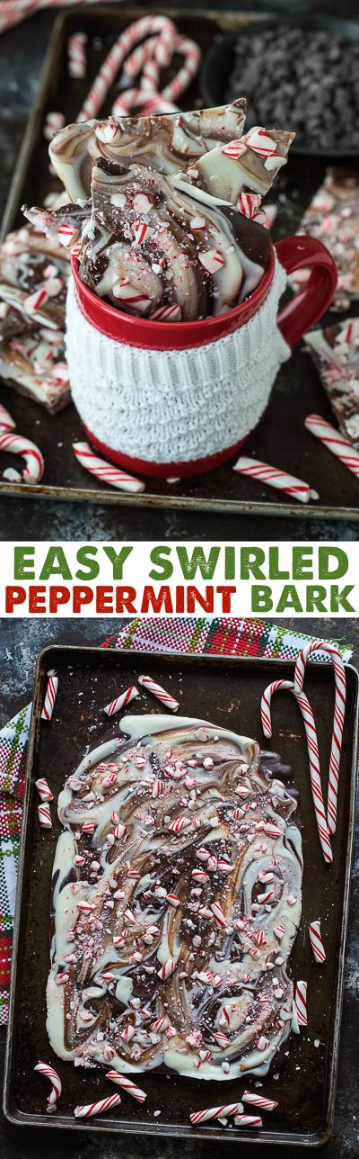 This easy white chocolate and milk chocolate swirled peppermint bark is AMAZING! I make it every Christmas!