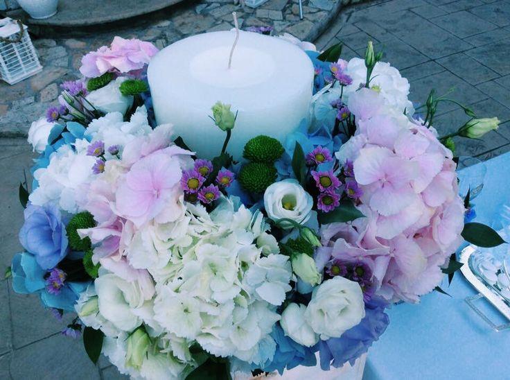 Λαμπάδα γάμου μπλε-ροζ με ορτανσια λισιανθο