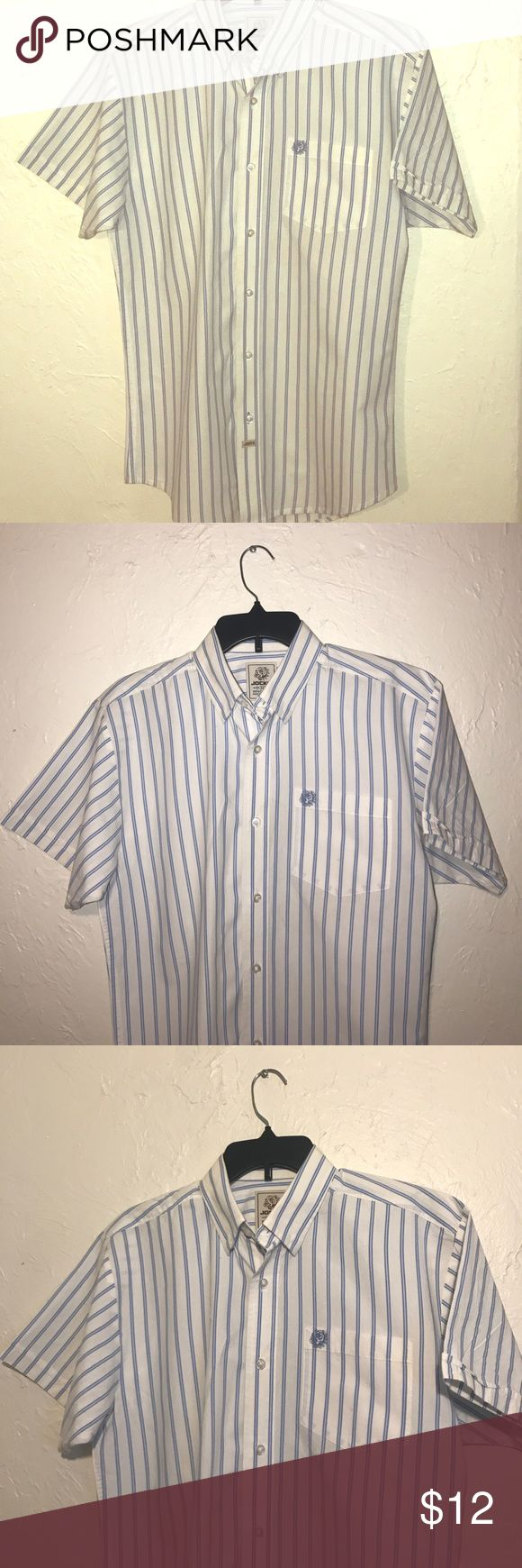 Men's Jocko white with blue stripes button down Short sleeve, casual, 100% cotton. Light blue stripes on white. Clean, free of holes stains or odor! Size medium, true to size. jocko Shirts Casual Button Down Shirts