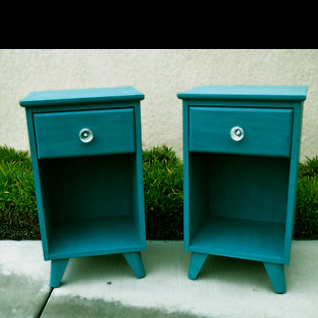 Teal Nightstands, I love this color!  For Sale on Ebay