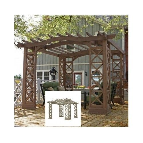 Outdoor-Wood-Pergola-Arbor-Patio-Garden-12x12-Gazebo-Frame-Hard-Cedar-Backyard