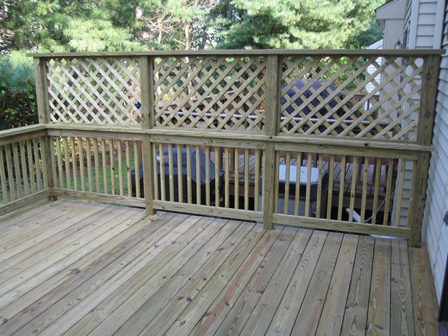 Lattice Privacy Fence | Pressure treated deck with privacy lattice in Hillsborough New Jersey.