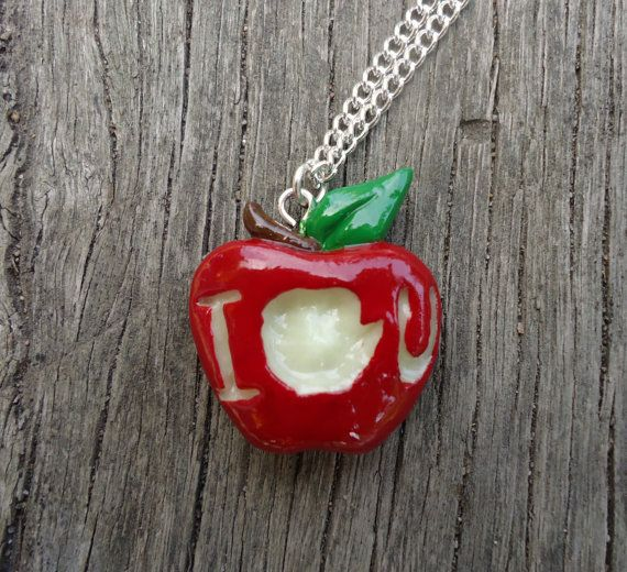 IOU Apple Necklace  Moriarty BBC Sherlock by Geeekalicious on Etsy, $14.00