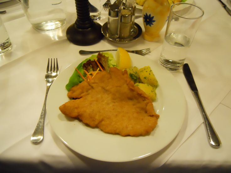 Wiener Schnitzel. This is famous food and so delicious.