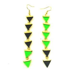 38. Black x green triangles earrings $6.5
