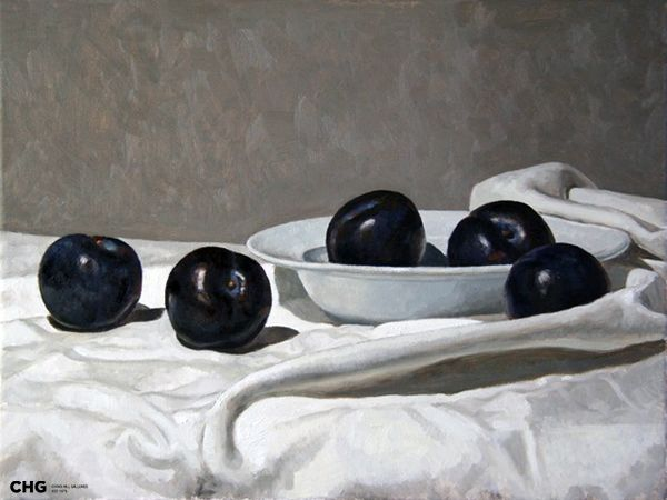 'Black Plums' | Bruce Rowland is a #CHG #painter focused on the figurative - nude and semi nude, still life and interiors. Browse and buy #art: http://goo.gl/Uv6Nev #australianart
