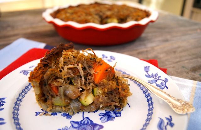 Potato Crusted Roasted Vegetable Pot Pie (Kosher for Passover)