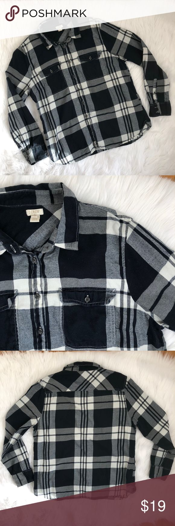 "J. Crew Factory Plaid Flannel Shirt {JI2} Black, white, and gray plaid flannel button down shirt.  Very versatile--wear buttoned up, open, or tied around your waist!  Measurements laying flat Chest: 22"" Length: 26"" Sleeve: 25""  Condition—Very good J. Crew Factory Tops Button Down Shirts"