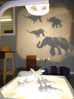 Proyección de sombras utilizando animales de plástco