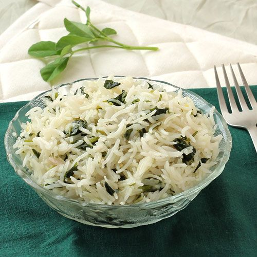 Methi Pulao (Fenugreek Rice) - Easy to make Healthy Food for Lunchbox - Best Way to Eat Nutritious Methi Bhaji in Lunch or Dinner - Step by Step Photo Recipe