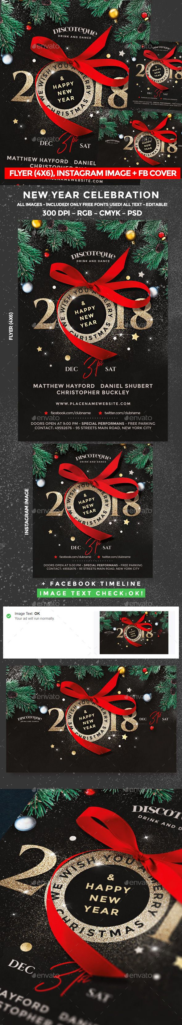 New Year — Photoshop PSD #christmas #christmas flyer • Available here ➝ https://graphicriver.net/item/new-year-flyer/21063080?ref=pxcr