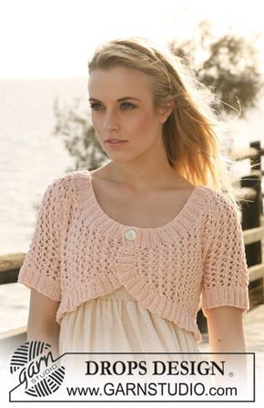 """DROPS 119-27 by DROPS Design Knitted DROPS bolero in lace pattern with short raglan sleeve in """"Muskat"""". Size XS/S to XXXL"""