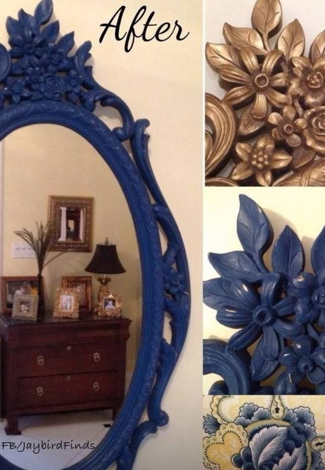 A Vintage Gold Mirror Finished With Napoleonic Blue Chalk Paint® Decorative  Paint By Annie Sloan