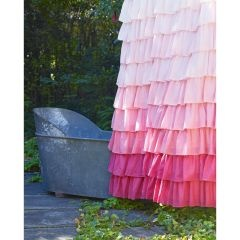 "Ruffled pink shower curtain. These ""look"" easy to make..."