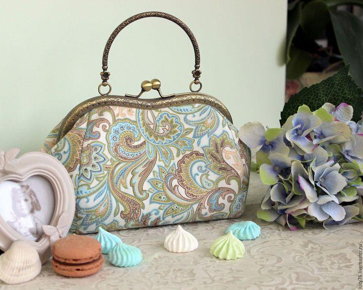 """Купить Ридикюль """"Paysley"""" с фермуаром на цепочке - пейсли, сумочка с фермуаром, античный стиль, античная бронза"""