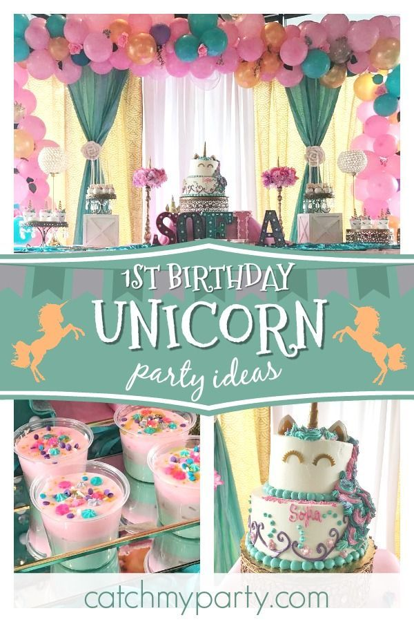 Dont Miss This Gorgeous Unicorn 1st Birthday Party The Cake Is Stunning See More Ideas And Share Yours At CatchMyParty