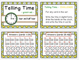 Telling Time task cards - hours and half hours