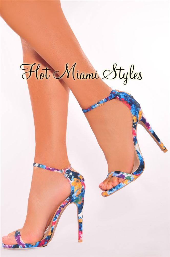 Blue Multi-Color High Heels | Heels