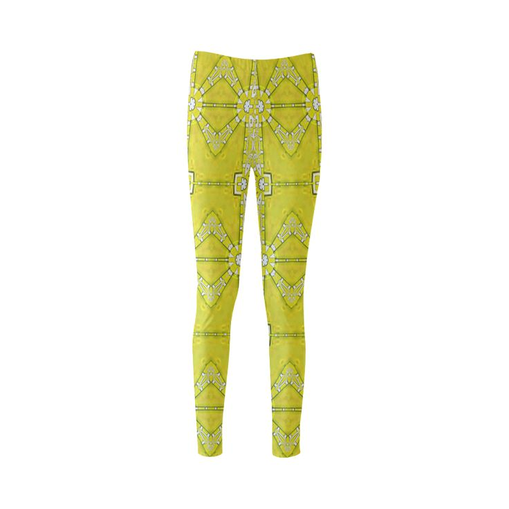 yellow shine-annabellerockz Custom Fashion Leggings for Women.Into the summer with yellows, fractal pattern by Annabellerockz