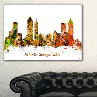 Orange wall art is the perfect type of fall wall art to use  in your home.  In fact fall canvas art is  especially trendy this time of year.   Whether it be an orange wall clock, orange canvas art or even orange  wall hangings you will find something perfect to decorate your home for  #autumn.       Design Art PT9661-40-20 Atlanta Georgia Skyline Cityscape Painting Canvas Art Print,Orange,40x20