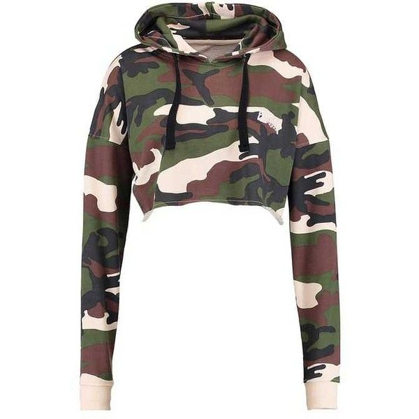 BARBIE CAMO CROPPED Sweatshirt khaki ($43) ❤ liked on Polyvore featuring tops, hoodies, sweatshirts, camo sweatshirts, camouflage top, white camo sweatshirt, cut-out crop tops and cropped tops
