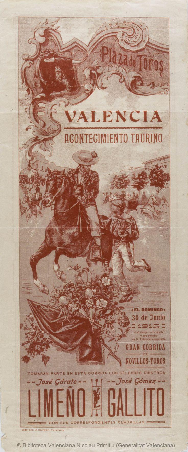 Anónimo. (S. XX)   Plaza de Toros Valencia ... [Material gráfico] : El Domingo 30 de Junio 1912 ... : Gran corrida de novillos-toros ... — [S.l. : s.n., 1912?] (Valencia : Imp. Lit. J. Ortega)  1 lám. (cartel) : col. ; 49'5 x 20'5 cm