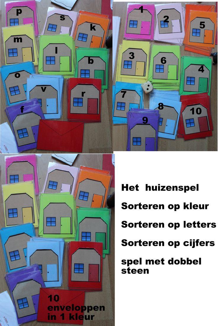 Spel met huisjes en 10 enveloppen in dezelfde kleur. Tal van mogelijkheden. Tellen en ordenen. Ordenen op kleur, werken met cijfers en aantallen en werken met letters op de enveloppen . je kunt er ook namen of woorden op doen.