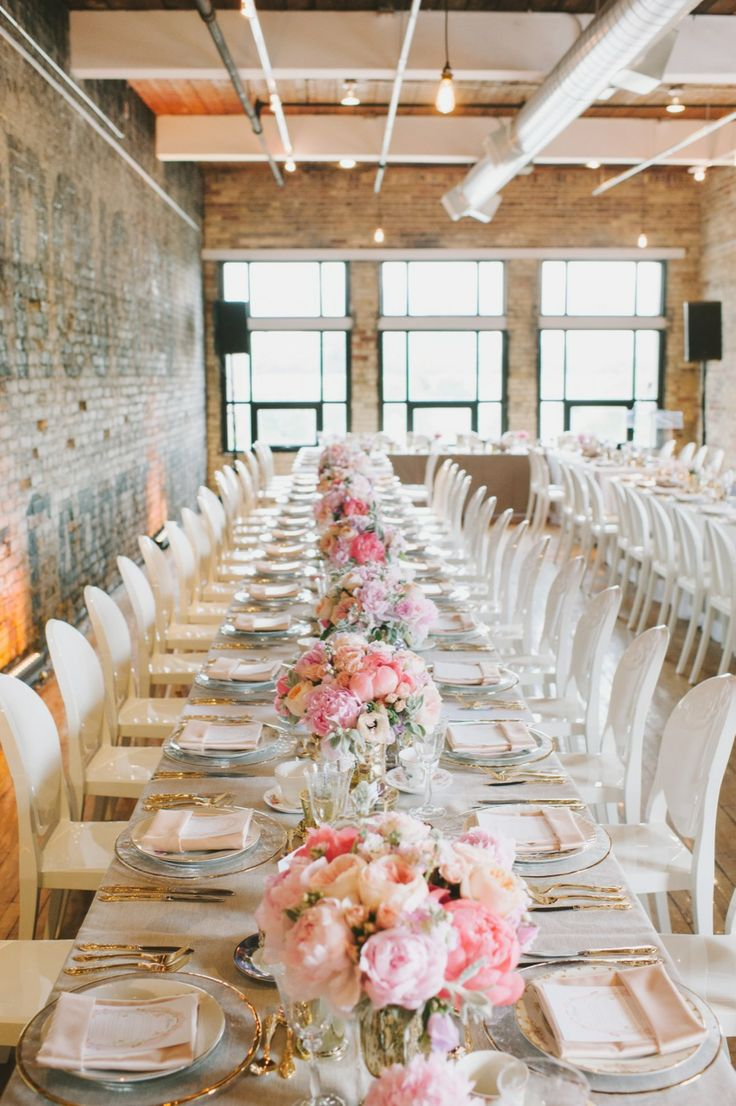 Formal Reception in an Informal Setting | Love It! | #Tablescape | More on SMP: http://www.stylemepretty.com/2013/11/14/toronto-wedding-at-the-burroughs-building-from-mango-studios | Photography: Mango Studios