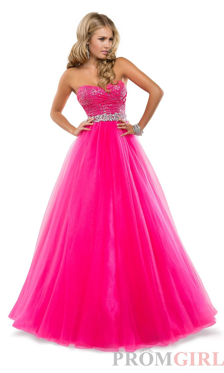 Sequin Ball Gowns, Flirt Strapless Quinceañera Dresses- PromGirl (Electric Pink)