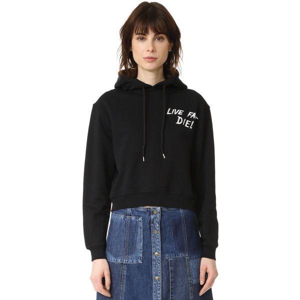 McQ - Alexander McQueen Cropped Hoodie (222 AUD) ❤ liked on Polyvore featuring tops, hoodies, darkest black, hoodie crop top, hooded sweatshirt, cropped hoodie, sweatshirt hoodies and hoodie top