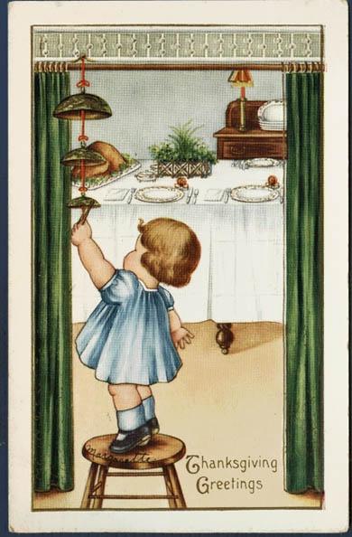Thanksgiving Precious Little Girl Rings The Dinner Bell