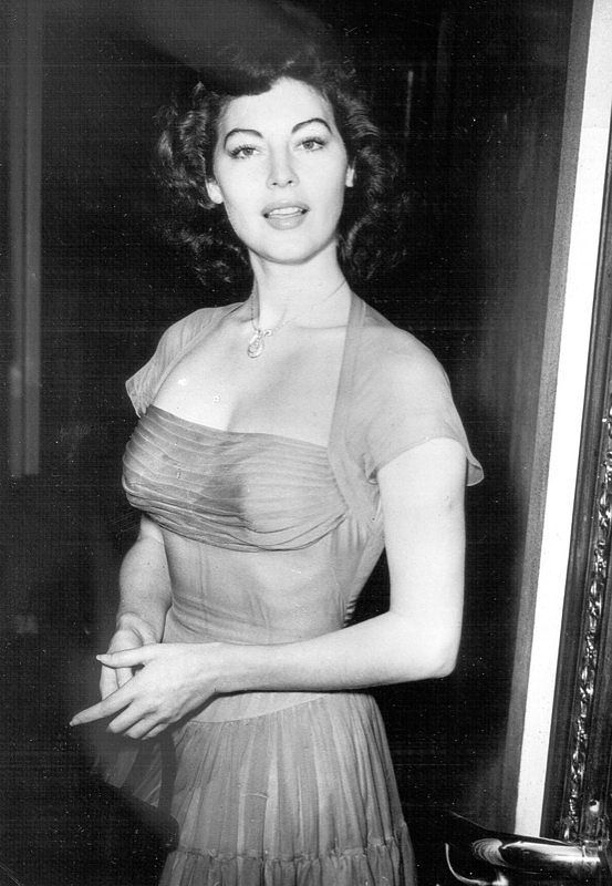 Ava Gardner wearing the red silk dress given to her by Howard Hughes in the 1940's.